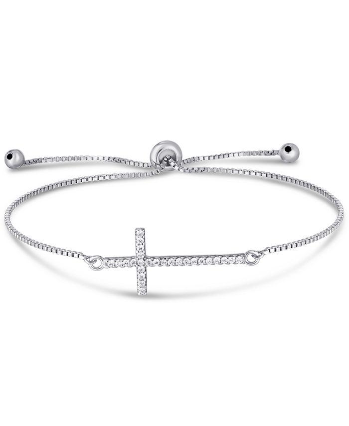 Macy's - Cubic Zirconia Cross Adjustable Slider Bolo Bracelet in Fine Silver Plate