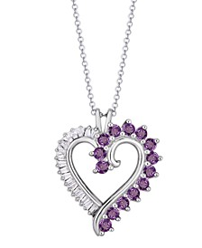 Simulated Rounds and Cubic Zirconia Baguettes Heart Pendant Necklace