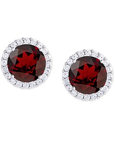 Birthstone Round Cubic Zirconia Halo Solitaire Stud Earrings in Fine Silver Plate