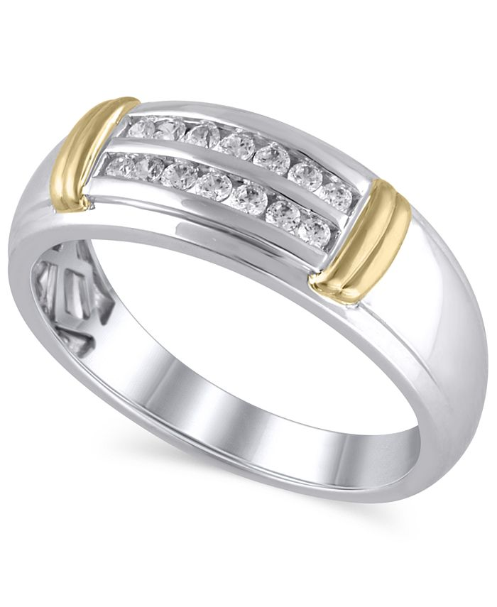 Macy's - Men's Certified Diamond (1/4 ct. t.w.) Ring in 14K White and Yellow Gold