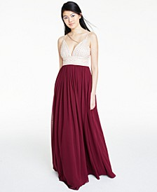 Juniors' Beaded-Bodice Chiffon Gown, Created for Macy's