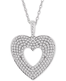 "Diamond Multi-Row Heart Pendant Necklace (1/2 ct. t.w.) in 14k White Gold, 18"" + 3"" extender"