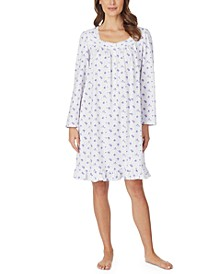 Cotton Jersey-Knit Floral-Print Venise Lace Nightgown