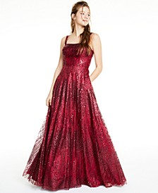 Juniors' Glitter Mesh Gown, Created For Macy's