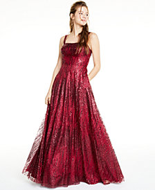 Say Yes to the Prom Juniors' Glitter Mesh Gown, Created for Macy's