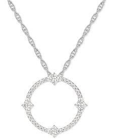 "Diamond Circle 18"" Pendant Necklace (1/2 ct. t.w.) in 14k White Gold"