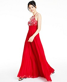 Juniors' Beaded Halter Gown