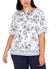 Plus Size Rebecca Floral Border-Print Top, Created for Macy's