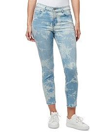 Tie-Dye Bleached Ankle Jeans