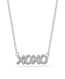 "Cubic Zirconia ""XOXO"" Nameplate Necklace in Sterling Silver"