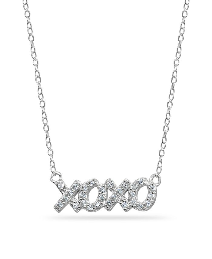 "Giani Bernini - Cubic Zirconia ""XOXO"" Nameplate Necklace in Sterling Silver"