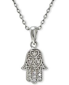 Cubic Zirconia Hamsa Pendant in Sterling Silver