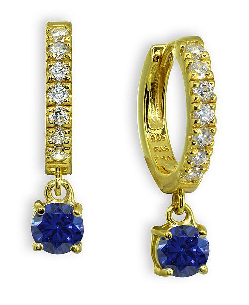 Giani Bernini Clear & Blue Cubic Zirconia Dangle Drop Huggie Hoop Earring in 18k Gold Plated Sterling Silver