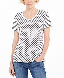 Petite Chevron-Print T-Shirt, Created for Macy's
