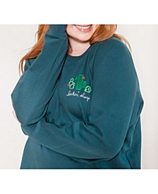 Women's Plus Size Embroidered French Terry Sweatshirt