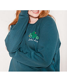 Ori Women's Plus Size Embroidered French Terry Sweatshirt