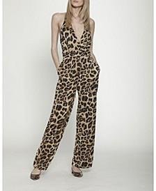 Leopard Print Halter Jumpsuit