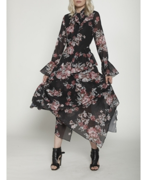 Walter Baker Dresses LONG SLEEVED FIT AND FLARE MIDI DRESS WITH POET SLEEVE