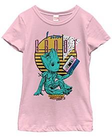 Marvel Big Girl's Guardians Vol. 2 Baby Groot Retro 90's Tape Short Sleeve T-Shirt