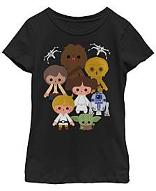 Star Wars Big Girl's Cute Kawaii Style Heroes Short Sleeve T-Shirt