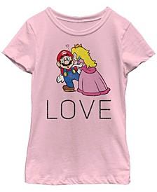 Nintendo Big Girl's Super Mario Princess Peach Kiss Love Short Sleeve T-Shirt
