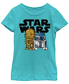Star Wars Big Girl's Boba R2-D2 and C-3Po Cute Cartoon Short Sleeve T-Shirt
