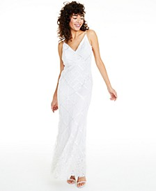 Sequined Feather-Trim Gown