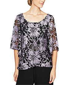 Alex Evenings Printed Metallic Top