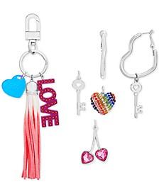 Interchangeable Charm Key Ring & Heart Hoop Earrings Set