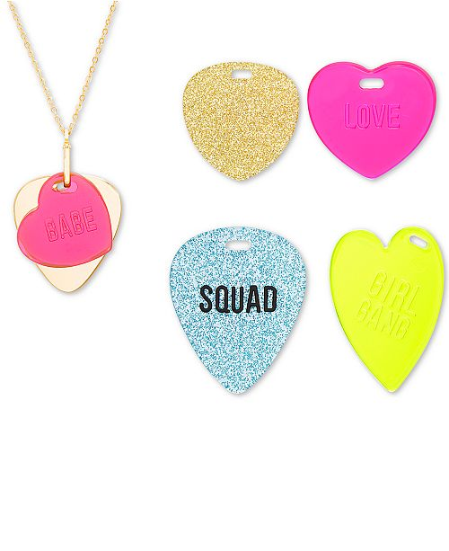 "Steve Madden Interchangeable Heart Tag Pendant Necklace Set, 16-1/2"" + 3"" extender"