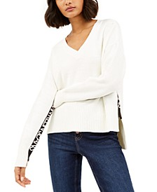 Logo-Trim High-Low Sweater