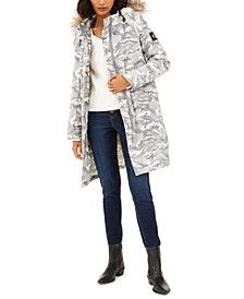 Hooded Camo-Print Parka With Detachable Puffer Jacket