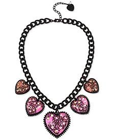 "Black-Tone Crystal Glitter Heart Statement Necklace, 19"" + 3"" extender"