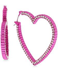 "Pink-Tone Medium Pavé Open Heart Hoop Earrings, 1.5"""
