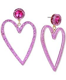 Gold-Tone Crystal & Glitter Heart Drop Earrings