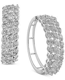 Diamond Medium Hoop Earrings (2 ct. t.w.) in 14k White Gold, 1.1""