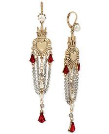 Two-Tone Crystal & Imitation Pearl Heart Chandelier Earrings