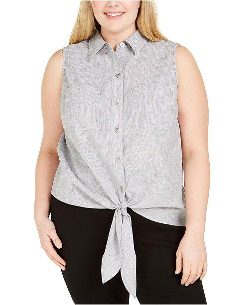 Michael Kors Plus Size Striped Tie-Front Top