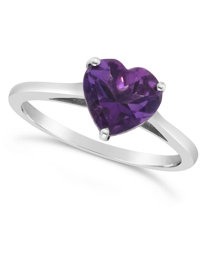 Macy's - Heart-shape Gemstone Ring in Sterling Silver. Available in Blue Topaz (2-1/3 ct. t.w.) and Amethyst (1-5/8 ct. t.w.)