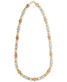 "Hearts & Kisses 17"" Statement Necklace in 18k Tricolor Gold-Plated Sterling Silver, Created For Macy's"