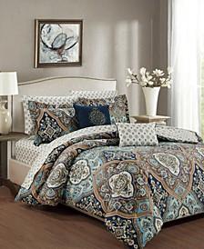 Wellington 9-Piece Printed Reversible Queen Comforter Set