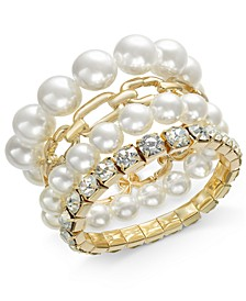 Gold-Tone 4-Pc. Set Crystal, Imitation Pearl & Link Stretch Bracelets, Created for Macy's