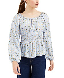 Juniors' Smocked-Waist Peplum Blouse