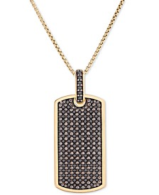 "Men's Diamond Dog Tag 22"" Pendant Necklace (1 ct. t.w.) in 14k Gold-Plated Sterling Silver"
