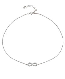 Cubic Zirconia Infinity Symbol Necklace in Sterling Silver or 18k Yellow Gold Plated Sterling Silver