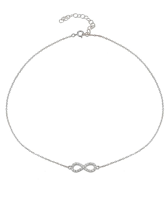 Giani Bernini - Cubic Zirconia Infinity Symbol Necklace in Sterling Silver or 18k Yellow Gold Plated Sterling Silver