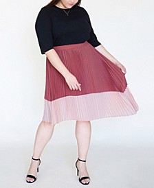 Women's Plus Size Asymmetric Pleated Midi Skirt