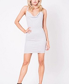 Cowl Neck Criss Cross Suede Mini Dress