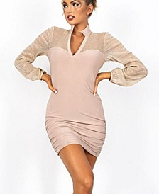 Collared Lurex Mesh Contrast Dress