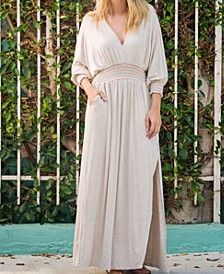 Long Sleeve Maxi Length V-Neck Lindsay Smocked Dress